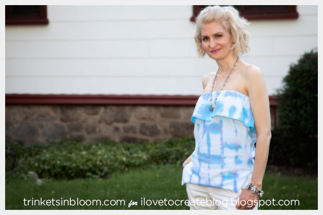 Origami Dyed Ruffle Tube Top Square Pattern Front