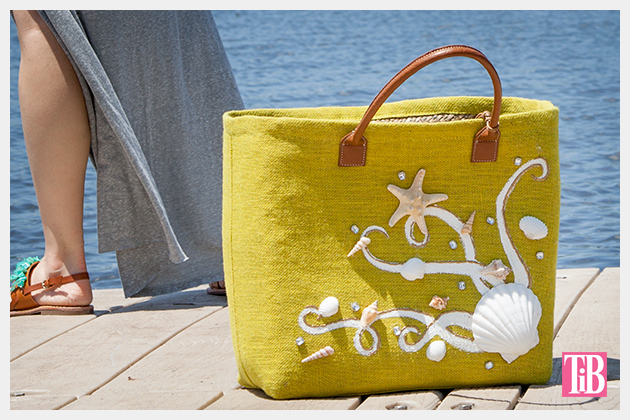 DIY Beach Tote With Shells Photo Standing