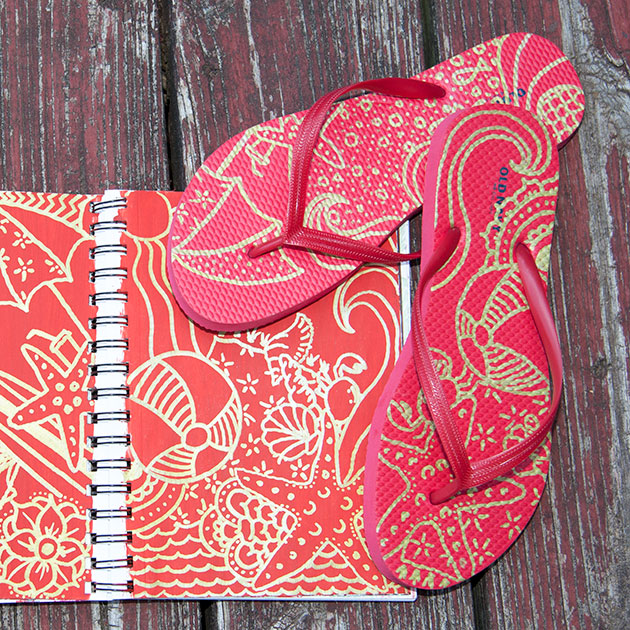 Doodle Flip Flops Bic Mark-it Metallic Markers Red