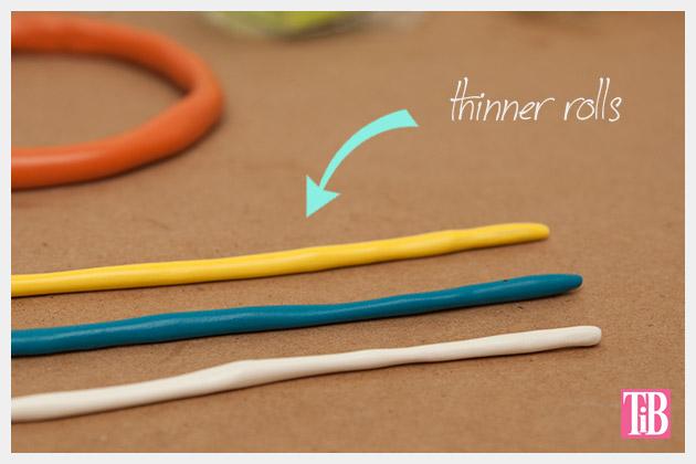 DIY Clay Bangle Bracelets creating thin rolls to wrap around