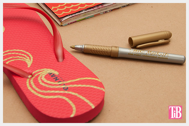 Doodle Flip Flops Drawing with Bic Mark-it Metallic Marker