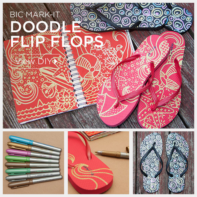 Doodle Flip Flops using Bic Mark-it Metallic Markers by Trinkets in Bloom