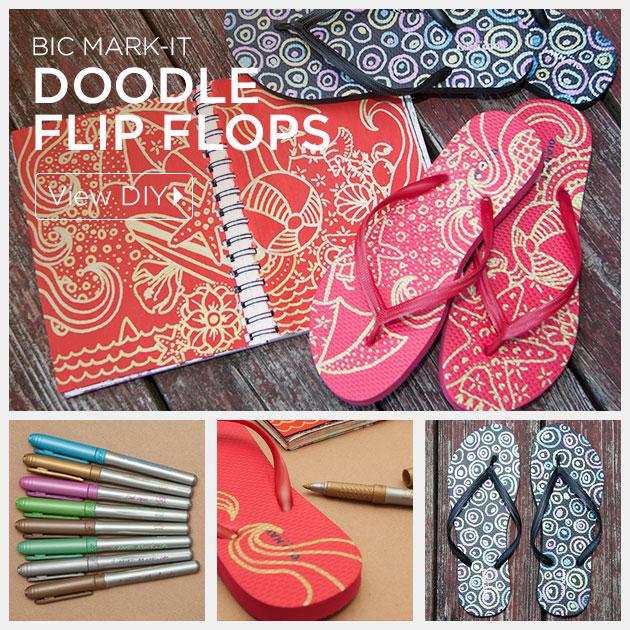 Doodle Flip Flops using Bic Mark-it Metallic Markers by Trinkets in Bloom