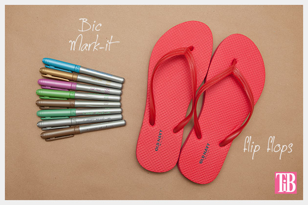 Doodle Flip Flops Bic Mark-it Metallic Markers supplies