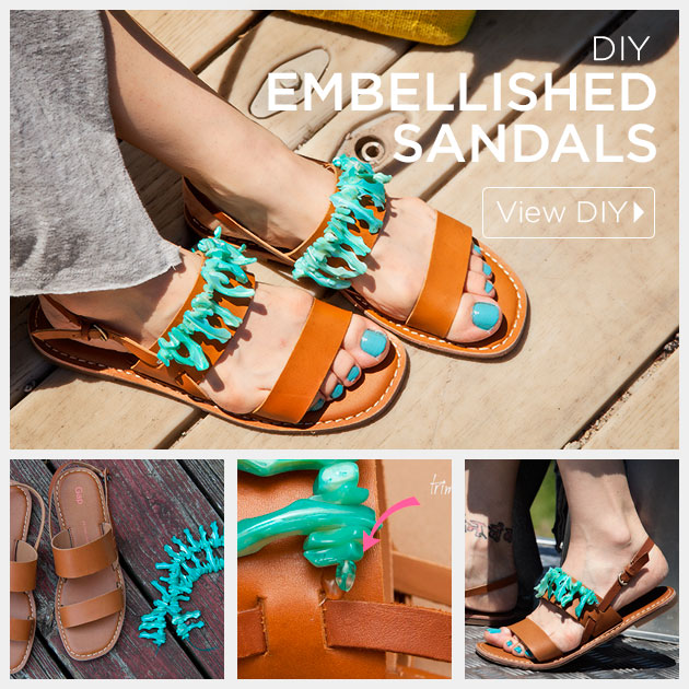 Embellished Sandals DIY by Trinkets in Bloom