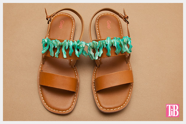 Embellished Sandals DIY Finished