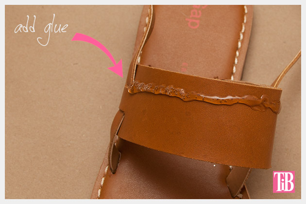 Embellished Sandals DIY Gluing