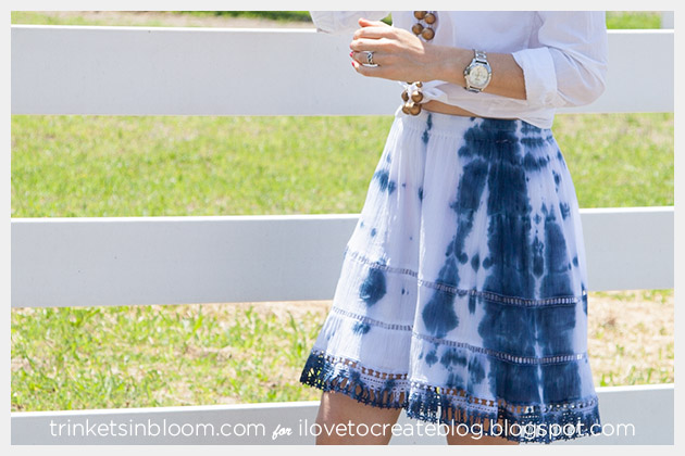 Blue and White Tie Dye Skirt DIY Photo 7 Close Up