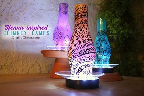 Henna Inspired Chimney Lamps