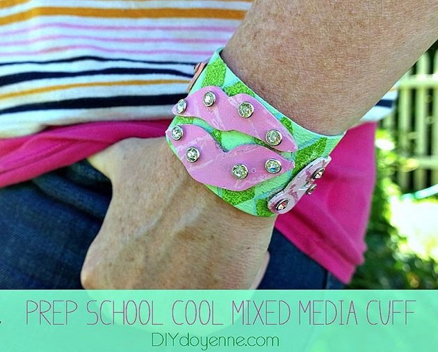 Preppy Mixed Media Cuff DIY