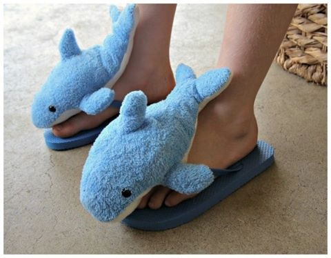 Soft Shark Flip Flops by Heather Mann Dollar Store Crafts