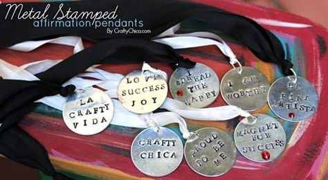 Metal Stamped Affirmation Pendants by Crafty Chica