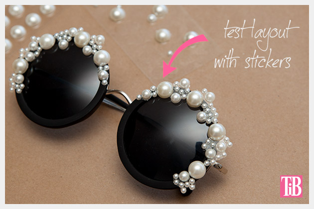 DIY Pearl Sunglasses Adding Pearls