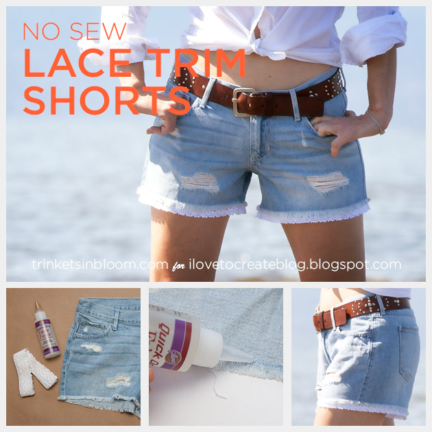 DIY Lace Trim Shorts by Trinkets in Bloom