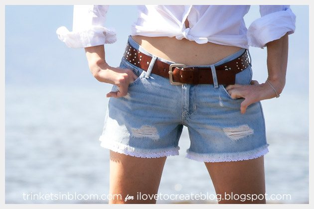 DIY Lace Trim Shorts Front View