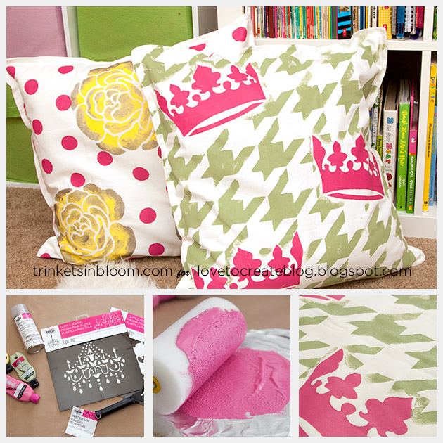 DIY Stenciled Pillows by Trinkets in Bloom