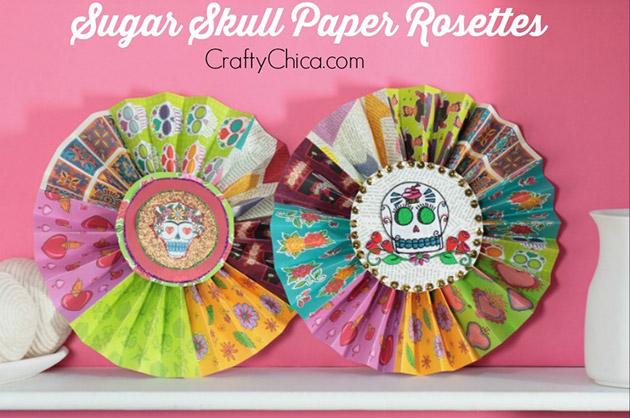 Sugar Skull Paper Rosettes by Crafty Chica #ThursDIY