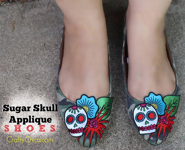 Sugar Skull Applique Shoes by Crafty Chica