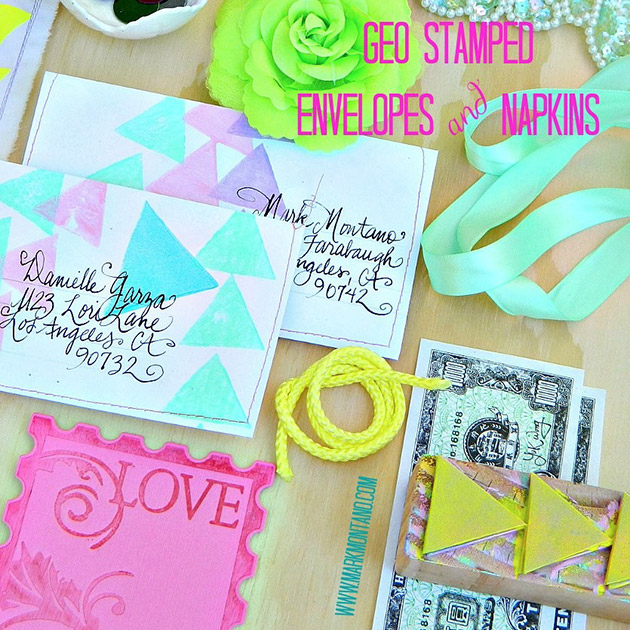 Geo Stamped Envelopes and Napkins by Mark Montano #ThursDIY