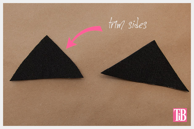 DIY Cat Beanie trim triangles to shape ears