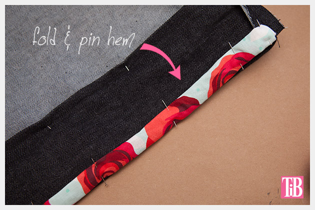 DIY Patched Skirt Pinning Hem on Patch