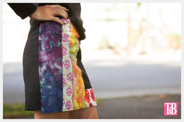 DIY Patched Skirt Side View