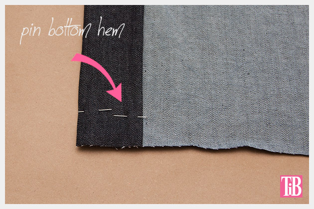 DIY Patched Skirt Folding and Pinning Bottom Hem