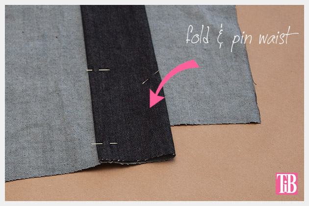 DIY Patched Skirt Pinning Waistband