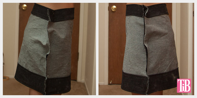 DIY Patched Skirt Pinned Side Views
