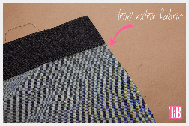 DIY Patched Skirt Trimming Side Seam
