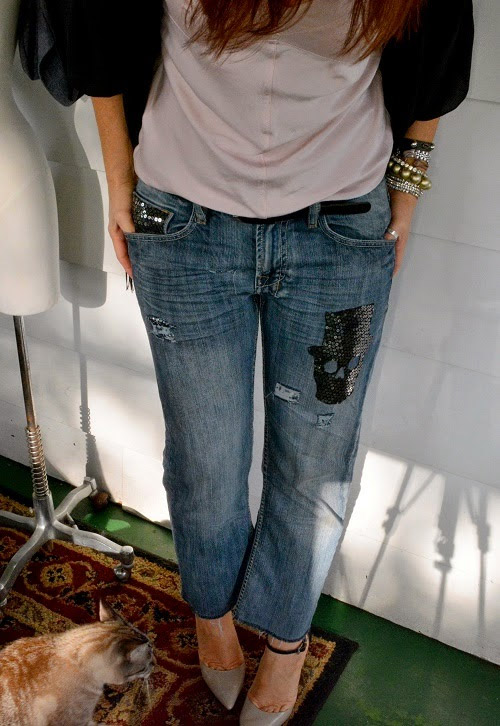 Sequin Skull Distressed Jeans by Anne Hollabaugh