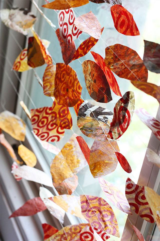 DIY Leaf Garland made from plastic bags by Aunt Peaches