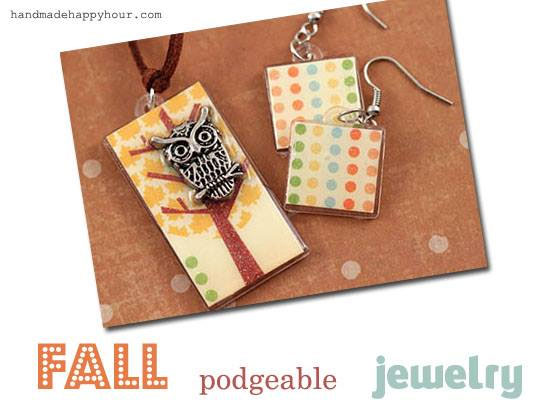 Fall Podgeable Jewelry by Cathie Filian and Handmade Happy Hour