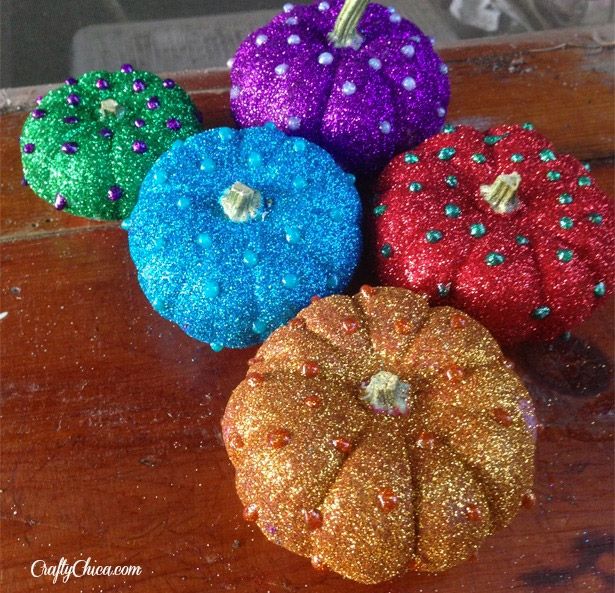Polka Dot Glittered Pumpkins by Crafty Chica