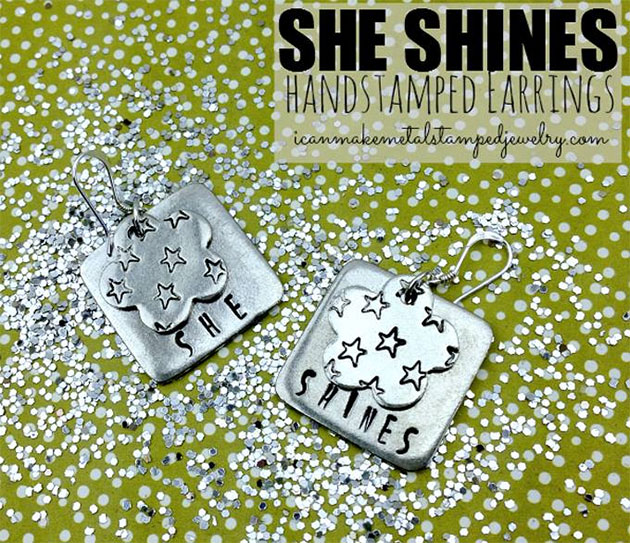 She Shines Hand Stamped Earrings by Margot Potter