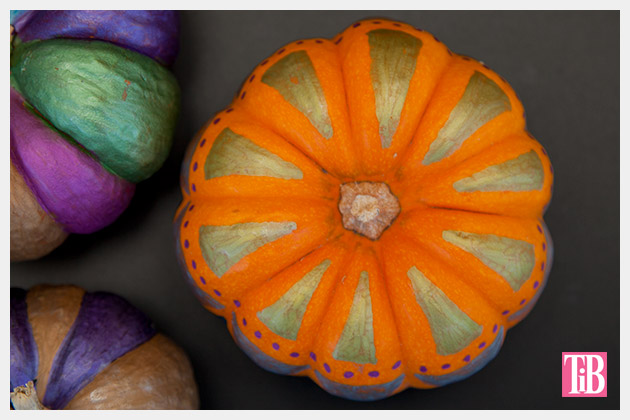 Painted Pumpkins using Bic Mark-it Markers top detail