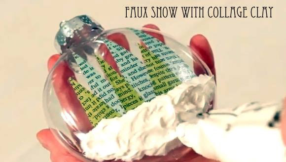 Faux Snow with Collage Clay by Cathie Filian