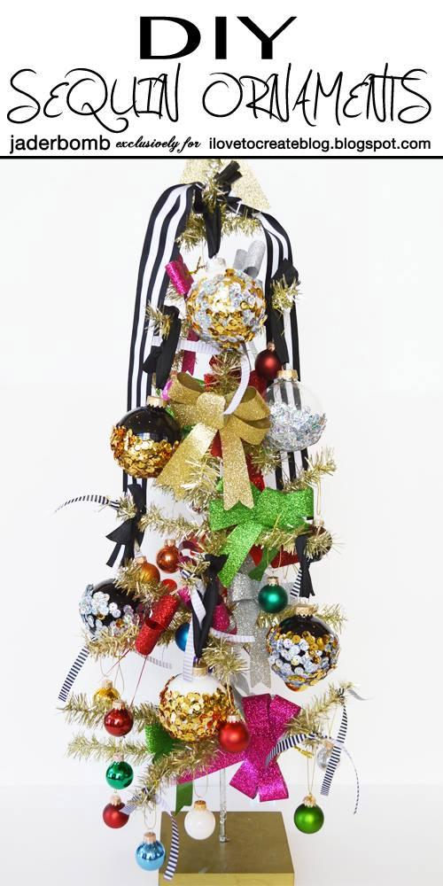 DIY Sequin Ornaments by Jaderbomb