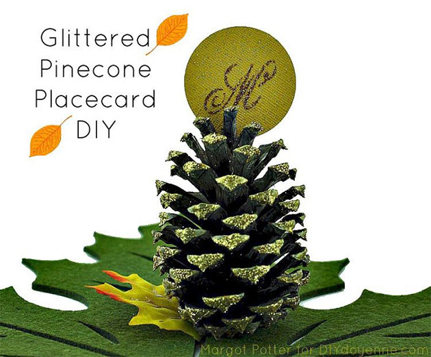Glittered Pinecone Place Card DIY by Margot Potter