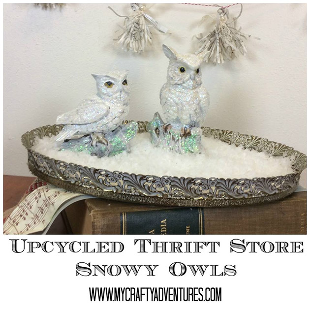 Upcycled Thrift Store Snowy Owls by Stephenie Hamen