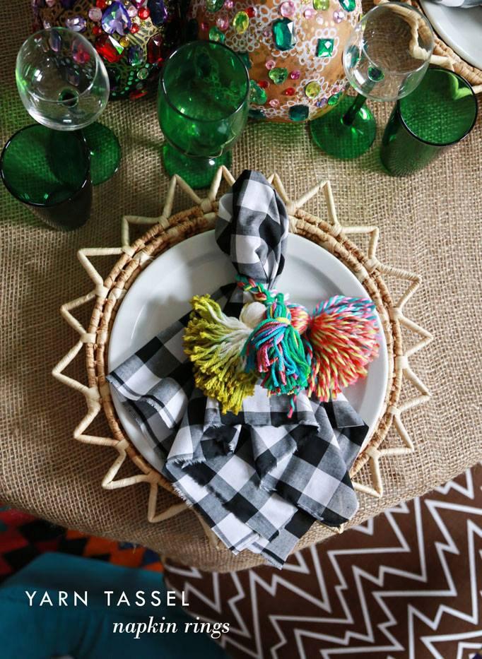 DIY Tassel Napkin Rings by Aunt Peaches