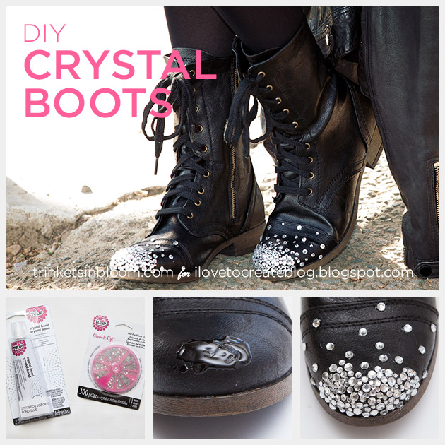 DIY Crystal Boots by Trinkets in Bloom for i Love To Create