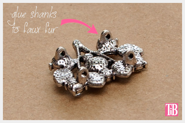 Furry Slap Bracelet DIY close up of button shank