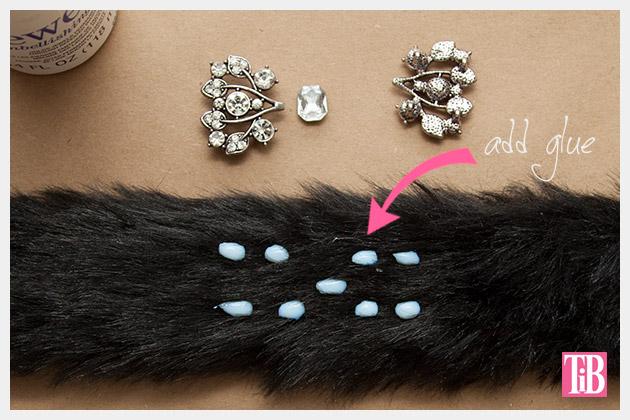 Furry Slap Bracelet DIY Gluing