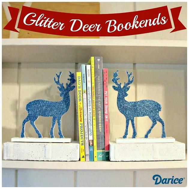 Reversible Glitter Deer DIY Bookends by Heather Mann