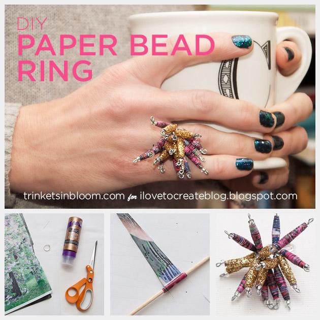 DIY Paper Bead Ring by Trinkets in Bloom