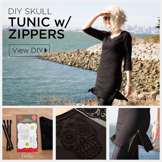 Skull Tunic with Zippers DIY Tutorial by Trinkets in Bloom
