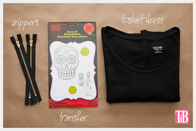 Skull Tunic with Zippers DIY Supplies