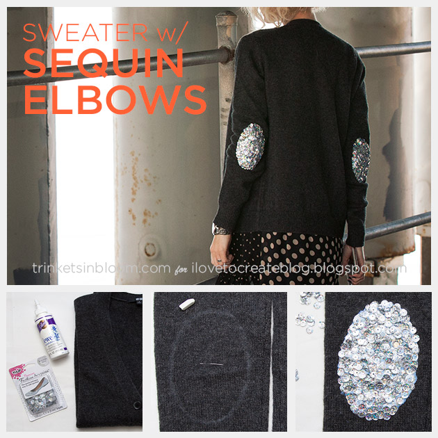 Sweater with Sequin Elbows DIY by Trinkets in Bloom