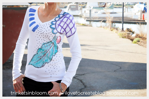 Abstract T-Shirt with Fabric Markers by Trinkets in Bloom